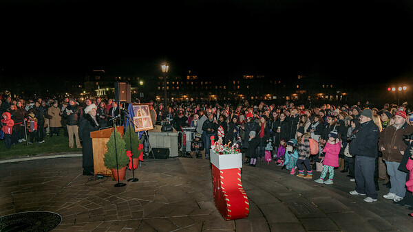 FOCCP President Joanne Hayes-Rines speaks to the large crowd before the trellis lighting