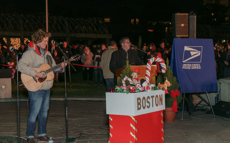 Sam Robbins performs at the trellis lighting event