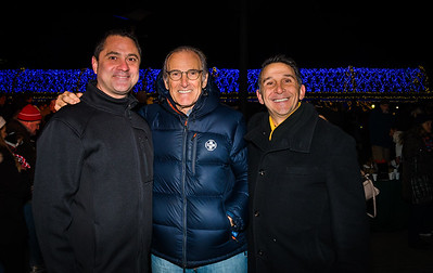 At the trellis lighting, Marc Hymowitz, Paul Ragusa and trellis extraordinaire, Steve Mirabella