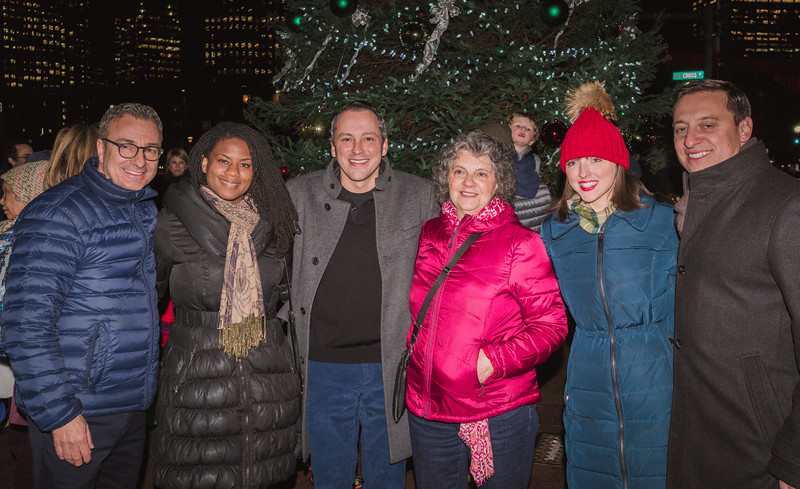 (L-R) Councilor Sal LaMattina, Councilor elect Lydia Edwards, Rep. Aaron Michlewitz, NEBC head Patricia Thibotout, NEBC Sarah Doracaj  and Sen. Joe Boncore