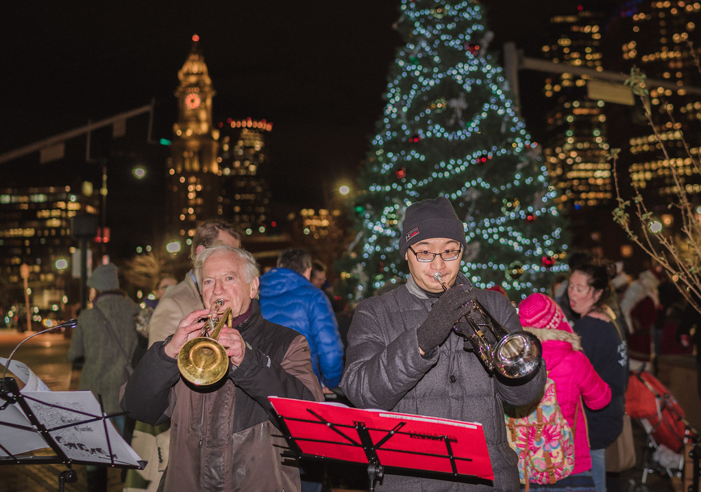 Victor Brogna and friend play trumpet at the Tree Lighting
