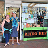 Angela and Simon in front of their place, Retro Hub at Port Fringe