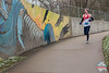 Coming up on mile 10 of the Bentonville Half Marathon runners got to see various art work along the Razorback Greenway coming into Slaughter Pen.