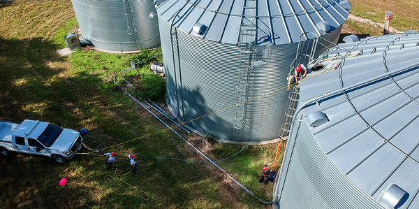 9-11-2018  254/365  Members with Norfolk Fire & Rescue work on getting equipment up on top of a bin Tuesday morning during a grain bin rescue training drill.   Photo taken with a DJI Spark  ISO 100  1/800th at F2.6  (153337)