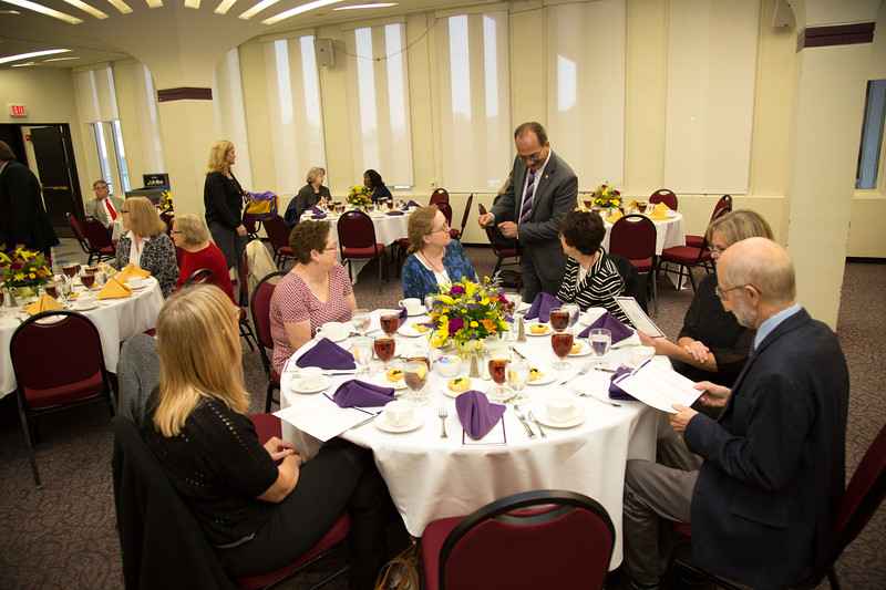 Honorees who are celebrating a service milestone gather for the Service Recognition Luncheon hosted by UAlbany President Havidan Rodriguez at the University at Albany Campus Center Assembly Hall on Tuesday, October 2, 2018. (photo by Patrick Dodson)