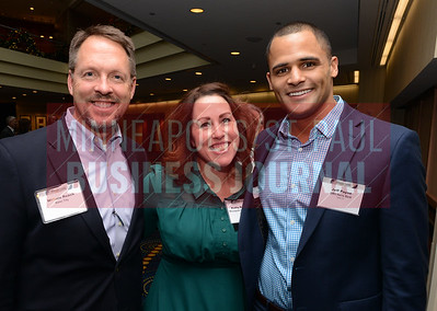 From left, Will Roach of Baker Tilly, MSPBJ Publisher Kathy Robideau and Jeff Payne of BMO Harris Bank