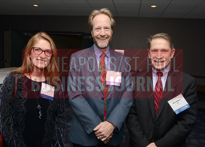 From left, Maureen Fasshinder, CFO of the Year Judge Dan Carr and Ron Hafner