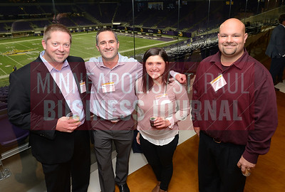 Employees of the Fast 50 company Horizon Roofing from left; Robert Jodsaas, Kurt Scepaniak,Taylor Sellnow and Andy Peters. Horizon Rooing is number 42 on the Minneapolis/St. Paul Business Journal's Fast 50 list.