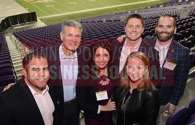 From left, Joe Delgado, Richard Ward, Ally Delgado, Andrew Ward, Mary Kay Ward and Nolan Goodman of Merchology