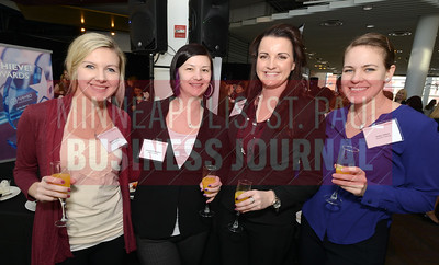 From left, Denison Parking employees Mariah Kragh, Jennifer Ellingson, Crystal Mador and Holly Olson attended the Minneapolis/St. Paul Business Journal's Mentoring Monday event at the Science Museum of Minnesota.