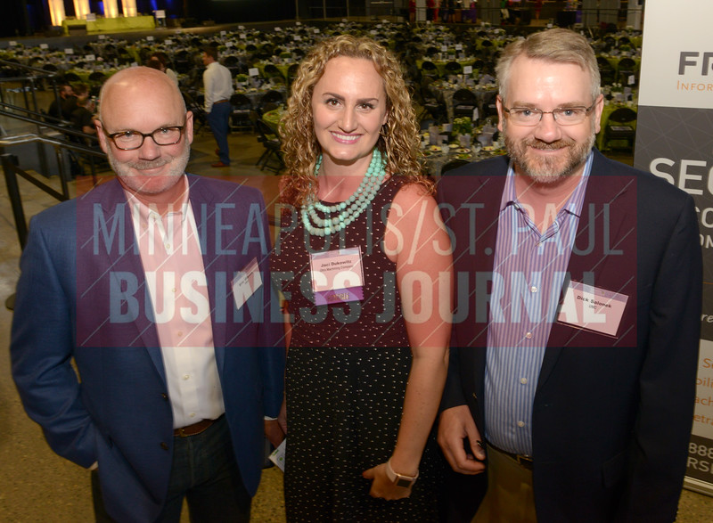 2018 Women in Business honoree Jaci Dukowitz of Ultra Machining Company along with Eric Gibson (left) and Dick Salonek.
