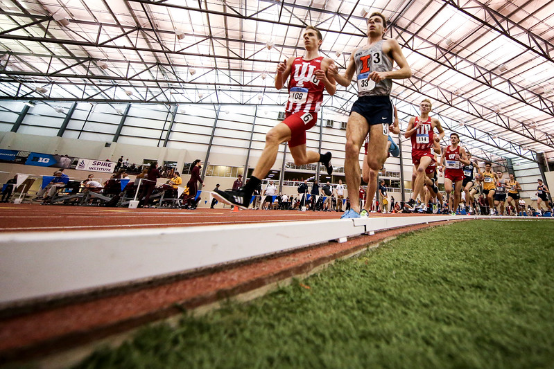 GENEVA, OH - February 23, 2018 -- Kyle Mau of the Indiana Hoosiers during the Indoor Big Ten Championships at the SPIRE Institute in Geneva, Ohio. Photo by Steven Leonard/Indiana Athletics