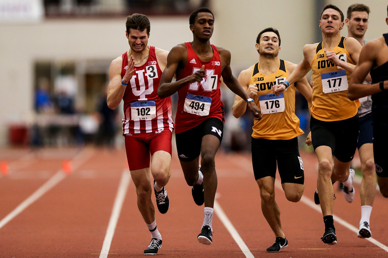 GENEVA, OH - February 23, 2018 -- Jordan Huntoon of the Indiana Hoosiers during the Indoor Big Ten Championships at the SPIRE Institute in Geneva, Ohio. Photo by Steven Leonard/Indiana Athletics