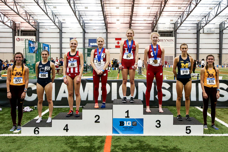 GENEVA, OH - February 23, 2018 -- Katherine Receveur and Maggie Allen of the Indiana Hoosiers during the Indoor Big Ten Championships at the SPIRE Institute in Geneva, Ohio. Photo by Steven Leonard/Indiana Athletics