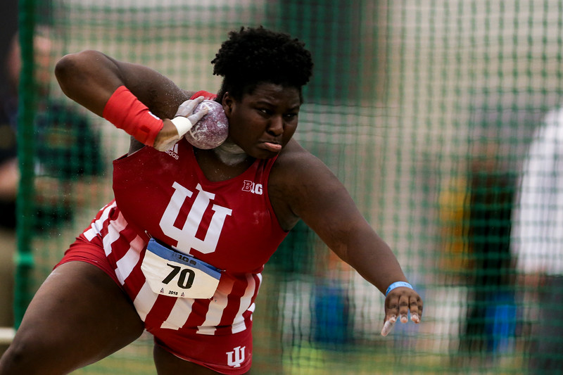 GENEVA, OH - February 23, 2018 -- Khayla Dawson of the Indiana Hoosiers during the Indoor Big Ten Championships at the SPIRE Institute in Geneva, Ohio. Photo by Steven Leonard/Indiana Athletics