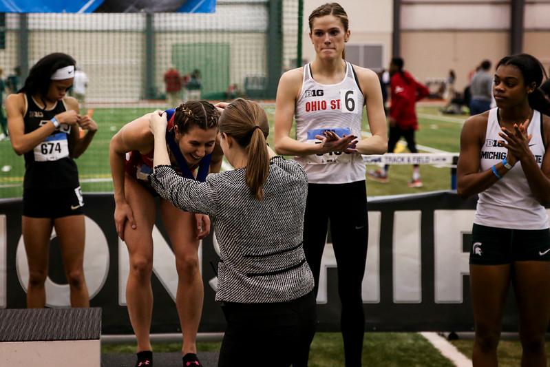 GENEVA, OH - February 24, 2018 - Kendall Wiles of the Indiana Hoosiers during the Indoor Big Ten Championships at the SPIRE Institute in Geneva, Ohio. Photo by Steven Leonard/Indiana Athletics
