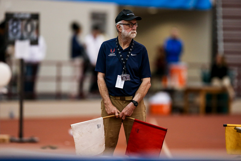 GENEVA, OH - February 23, 2018 -- USATF Official during the Indoor Big Ten Championships at the SPIRE Institute in Geneva, Ohio. Photo by Steven Leonard/Indiana Athletics