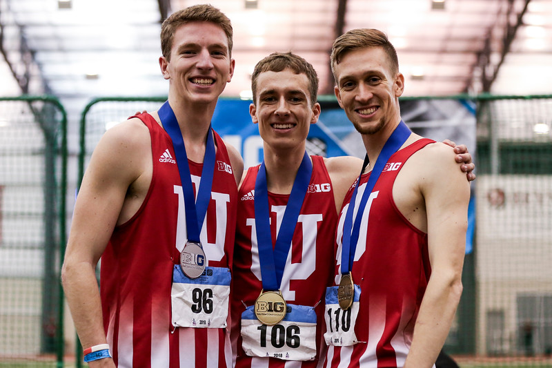 GENEVA, OH - February 24, 2018 - Kyle Mau, Teddy Browning and Joe Murphy the Indiana Hoosiers during the Indoor Big Ten Championships at the SPIRE Institute in Geneva, Ohio. Photo by Steven Leonard/Indiana Athletics
