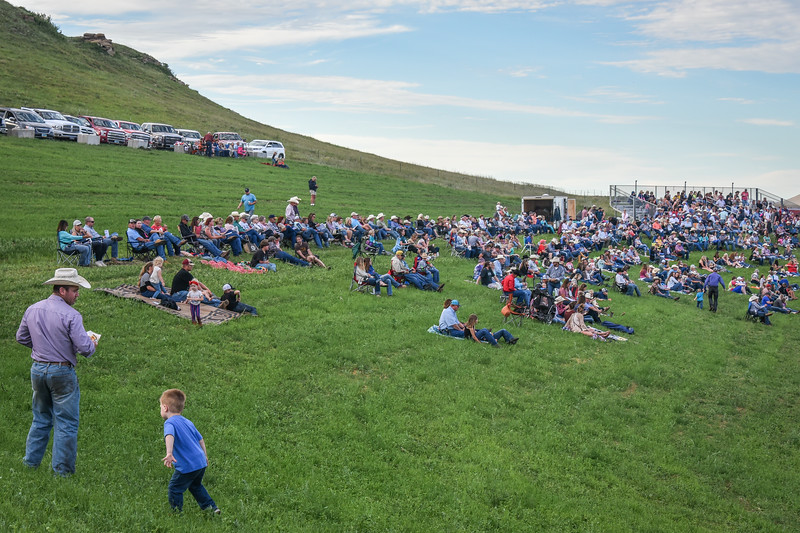 Families, Pickups, the Crowd at Killdeer Mountain Roundup  Rodeo   July 3, 2018