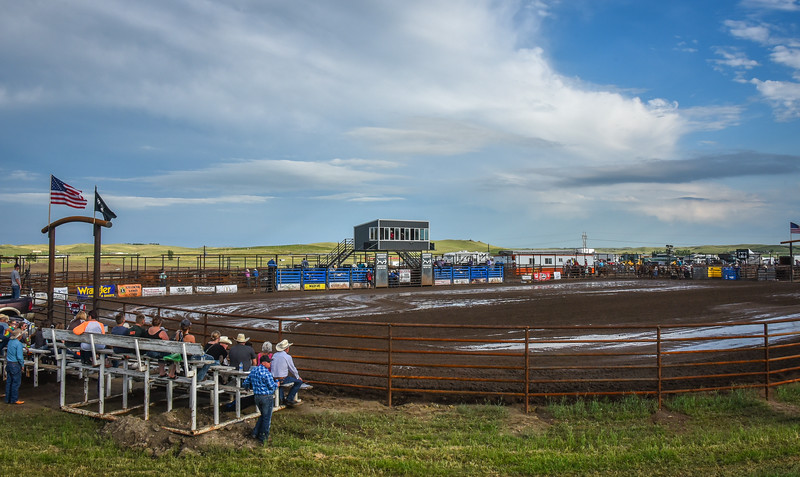 Looking Southeast Over the New Arena.  Killdeer Mountain Roundup PRCA Rodeo   July 3, 2018