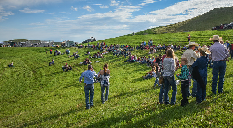 Crowds on Hillside at Killdeer Mountain Roundup Rodeo, July 3, 2018