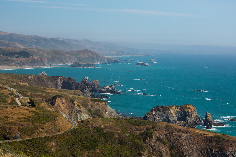 North of Bodega Bay along the coast. Breathtaking, look at that highway!