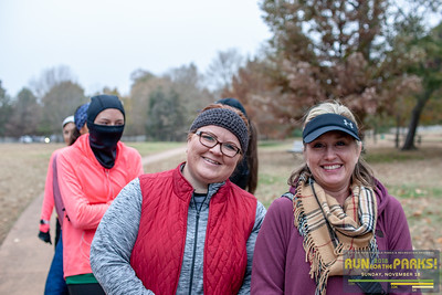 On a cloudy, cold, fall day runners ran through the trails of Fayetteville  with three different distance options—a 15k starting at Lake Fayetteville, a 10k starting at the Carol VanScyoc Trailhead, and a 5k at Wilson Park.  Each race finished at Walker park for pancakes, coffee, hot chocolate and awards.