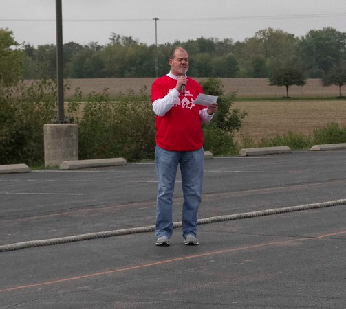Bob Hickey | For The Herald Bulletin<br /> Ken Hesling from Carter Express addresses the crowd prior to the start of the truck pull.