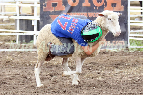 Greyson Dean, 7, of Burlington, holds on during the preliminary round of Mutton Bustin' Saturday night before the 10th Annual Wapello PRCA Rodeo Saturday, July 14, 2018.