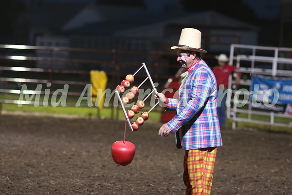 Rodeo clown Gizmo McCracken and his apple computer