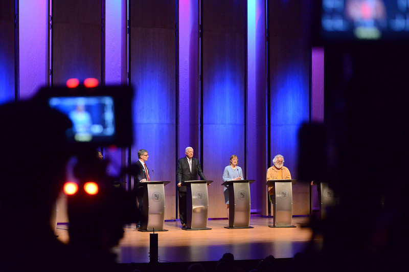 Justin Sheely | The Sheridan Press<br /> Candidates answer questions during the 2018 Wyoming gubernatorial debate at the Whitney Center for the Arts Tuesday, June 26, 2018. The debated included two democrats and six republican candidates for Wyoming governor. The event was hosted by The Sheridan Press with Sheridan College, Sheridan County Chamber of Commerce and Wyoming PBS.
