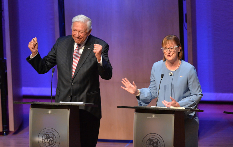 Justin Sheely | The Sheridan Press<br /> Republican candidate Foster Friess, left, reacts to democrat Mary Throne during the 2018 Wyoming gubernatorial debate at the Whitney Center for the Arts Tuesday, June 26, 2018. The debated included two democrats and six republican candidates for Wyoming governor. The event was hosted by The Sheridan Press with Sheridan College, Sheridan County Chamber of Commerce and Wyoming PBS.