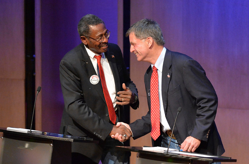 Justin Sheely | The Sheridan Press<br /> Republican candidates Taylor Haynes, left, and Mark Gordon share a handshake during the 2018 Wyoming gubernatorial debate at the Whitney Center for the Arts Tuesday, June 26, 2018. The debated included two democrats and six republican candidates for Wyoming governor. The event was hosted by The Sheridan Press with Sheridan College, Sheridan County Chamber of Commerce and Wyoming PBS.