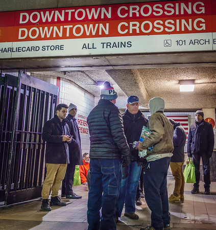 Mayor Walsh with the Winter 2018 homeless census at Downtown Crossing