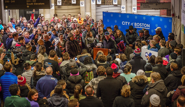 Mayor Marty Walsh speaks to volunteers at Boston City Hall before hitting the streets for the Winter 2018 homeless census