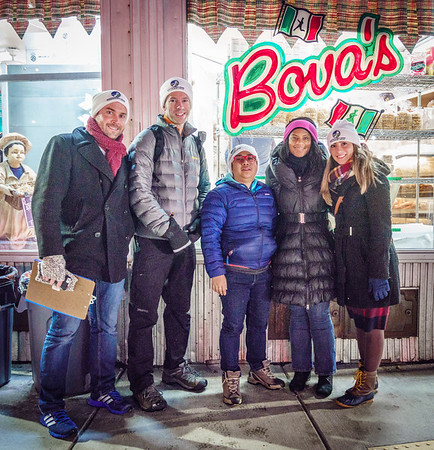 At the end of the homeless census, a stop at Bovas with City Councilor Lydia Edwards (2nd from left) and team members