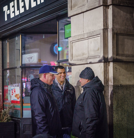 Boston Mayor Marty Walsh and Francisco Urena, Mass. Secretary of Veterans' Services speak to a man as part of the Winter 2018 homeless census