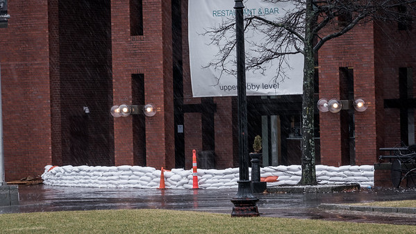 Prepared with sandbags at Long Wharf Marriott