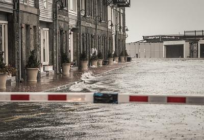 Waves crashing at Commercial Wharf