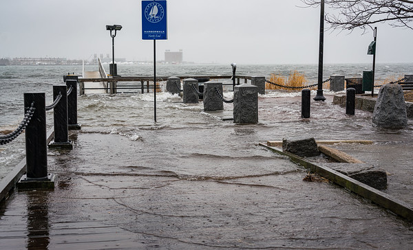 Flooded Harborwalk at Sargent's Wharf