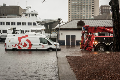 Breaking News! Channel 5 news truck stranded at Long Wharf flooding