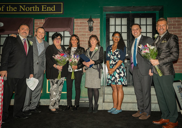 "Thanking some of the founders of Taste of the North End (L-R) Donato Frattaroli, Rep. Aaron Michlewitz, Marie ""ReRe"" Bamonte, Nancy Frattaroli, Pamela Donnaruma, Councilor Lydia Edwards, Sen. Joe Boncore and Jim Luisi"