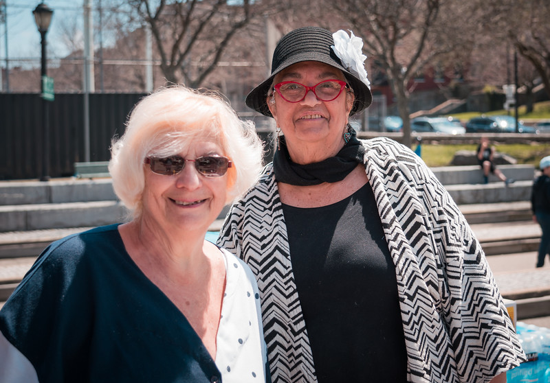 Lillian and Mary Anne serving at the bbq
