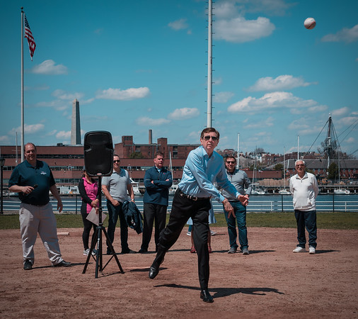 Teddy throws the first pitch at NEAA Opening Day