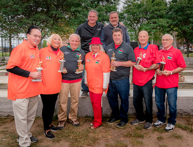 1st, 2nd and 3rd place teams (L-R) Bob and Peggy Magri, Matteo Norcia, Yvonne Balsamo representing honoree Sal Balsamo, Nino Rinaldi, Giovanni DiPierro and Gerry DiPierro with TONE bocce tournament organizers (upper row) Chris Zizza and Donato Frattaroli