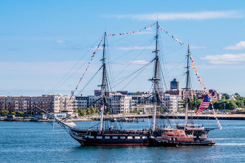 USS Constitution underway in Boston Harbor