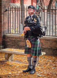 Bagpipes at the Old North Memorial Garden ceremony