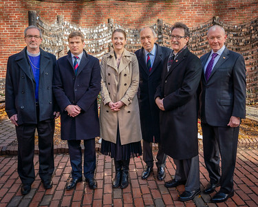 (L-R) Rt. Rev. Alan Gates, Bishop Diocesan, Simon Boyd of the Soldiers Fund, British Consul General Harriet Cross., General (ret.) Sir Mike Jackson, former British Chief of the General Staff, Stephen T. Ayres, Vicar of Old North Church and General (ret.) Martin Dempsey, former U.S. Joint Chief of Staff