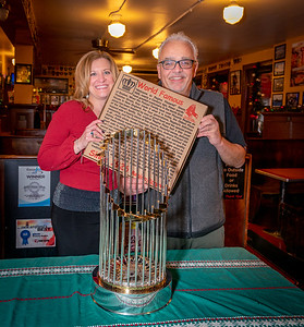 Christina and Richie at Pizzeria Regina with the 2018 Boston Red Sox World Series ChampionshipTrophy