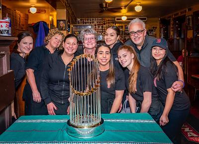 Pizzeria Regina celebrates with the 2018 Boston Red Sox World Series Trophy